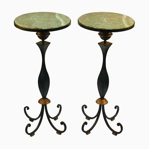 High Side Tables by Gilbert Poillerat, France, 1940s, Set of 2