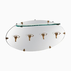 Golden Iron Hanger with Glass Shelf and Oval Mirror by Pier Luigi Colli, Italy, 1950s