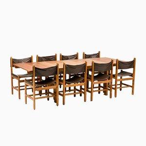 Stühle und Esstisch von Erik Wørts, 8er Set