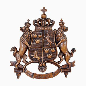 Heraldisches Geschnitztes Wappen aus dem Frühen 20. Jh