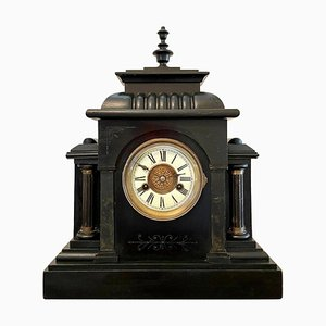 Large Victorian 19th Century Faux Marble Mantel Clock