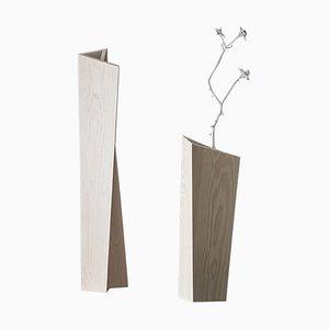Vasi bianchi in legno di frassino di Matthias Scherzinger, set di 3