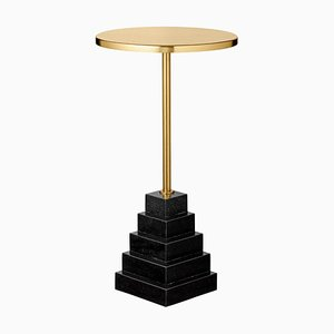 Granite and Steel Side Table with Gold Top