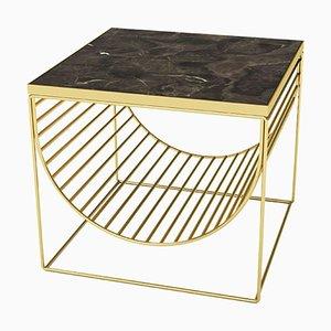 Tavolino in marmo marrone e acciaio dorato