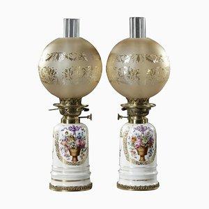 White Porcelain Lamps, 19th Century, Set of 2