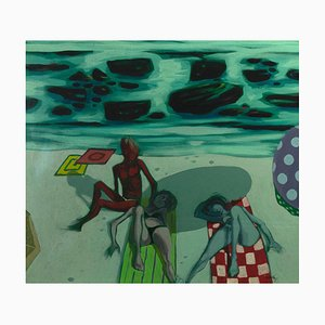Alberto Cavallari, Figures on the Beach, Oil on Canvas, 1960s