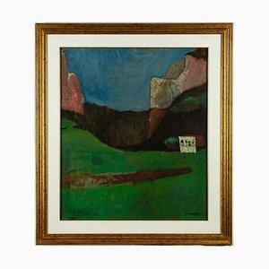 Mario Asnago, montañas, óleo sobre lienzo, años 60