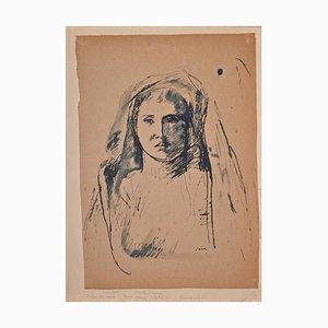 Bruno Saetti, Frau Portrait in Shadow, Ink and Pen, 1940er