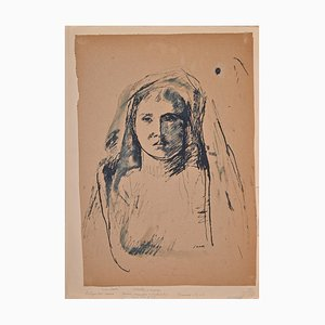 Bruno Saetti, Woman's Portrait in Shadow, Ink and Pen, años 40