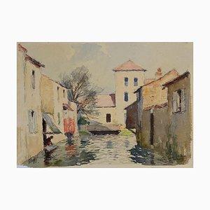 Gautier René Georges, Casas en el río, Acuarela, Mid-Century, siglo XX