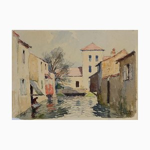 Gautier René Georges, Häuser am Fluss, Aquarell, Mitte des 20. Jh