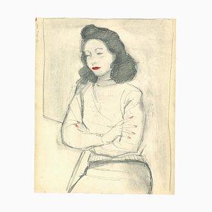 Nicola Simbari, Frau, Bleistift und Aquarell, 1960er
