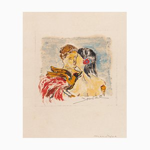 Maurice Bouval, the Kiss, Drawing, Late 20th-Century