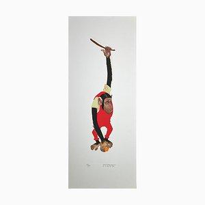Litografia di Alberto Mastroianni, scimmia, anni '70