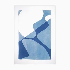 Mid-Century Composition of Retro Shapes, Minimal White and Blue Curves Monotype, 2021