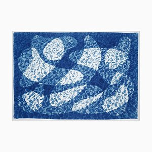 Fish Swimming Below Water, Fresh Blue Tones Cyanotype Print, Pool Art on Paper, 2021