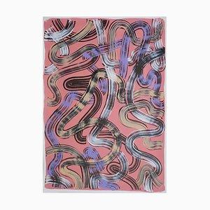 Pennellate nere su salmone, pittura astratta su carta, pastello moderno, 2021