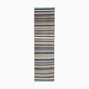 Gestreifter türkischer Vintage Rainbow Teppich