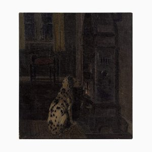 Thorvald Larsen, Interior Szene mit Dalmatiner, Öl auf Leinwand