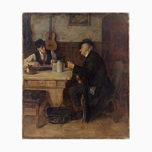 Hans Kratzer, Interior Szene mit Musikern, Öl auf Leinwand