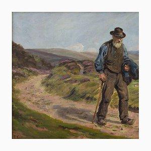 Edvard Lehmann, Landscape with Older Gentleman von Ehmann