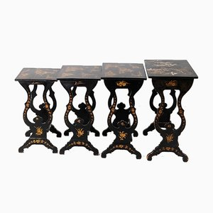 19th Century Black Lacquered Nesting Tables by Noi, Set of 4