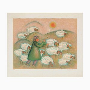 The Field, Shepherd and His Flock par Françoise Deberdt