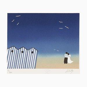 Amoureux sur la plage par Francis Latreille