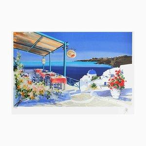 Grèce - Terrasse de restaurant fleurie by André Bongibault
