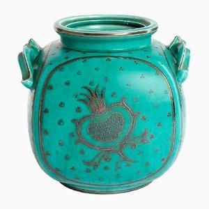 Large Vintage Art Deco Glazed Ceramic Argenta Vase by Wilhelm Kage for Gustavsberg