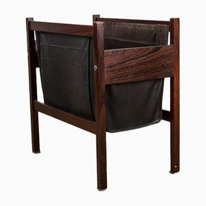 Danish Rio Rosewood & Leather Magazine Rack, 1960s