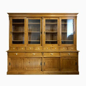 Large Vintage Shop Display Cabinet with Sliding Doors