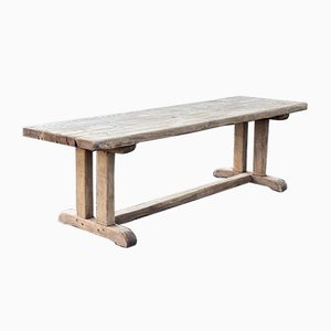 Large French Rustic Bleached Oak Farmhouse / Refectory Dining Table
