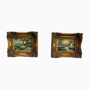 Pinturas marinas, principios del siglo XX. Juego de 2