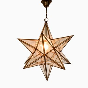 Mid-Century Brass and Glass Star Pendant Lamp