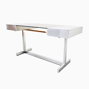 Glass and Steel Desk by Willy Rizzo, 1970s