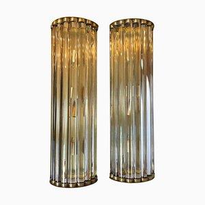Große Italienische Mid-Century Moderne Messing & Glas Wandlampen von Gaetano Sciolari, 2er Set