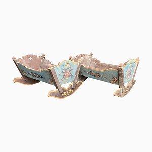 Vintage Sicilian Art Nouveau Hand-Painted Wood Toy Cots, Set of 2