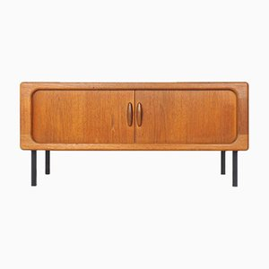 Low Teak Sideboard with Tambour Doors from Dyrlund, 1960s