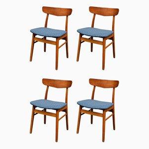 Dänische Vintage Teak / Buche Esszimmerstühle von Findahls, 4er Set