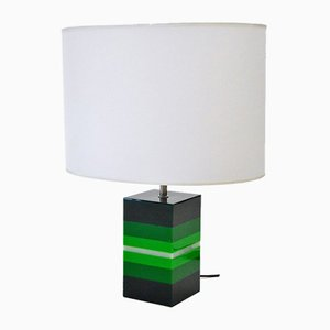 Vintage Italian Green Plexiglass Table Lamp, 1960s
