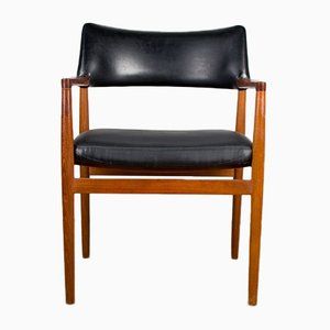 Danish Teak & Black Skai Model 43 Desk Chair by Erik Kirkegaard for Hong Stolfabrik, 1960s