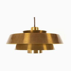 Vintage Danish Nova Brass Pendant by Jo Hammerborg for Fog & Mørup, 1960s