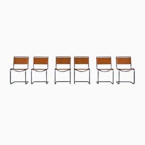 S33 Esszimmerstühle aus Leder von Mart Stam für Thonet, 1980er, 6er Set