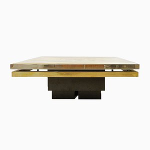 Etched Chrome and Brass Coffee Table by Christian Heckscher, 1970s