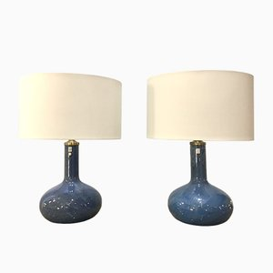 Holmegaard Troll 2 Iridescent Blue Glass Lamps by Sidse Werner, Denmark 1980s, Set of 2