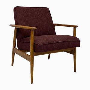 Armchair by M. Zieliński in Burgundy Fabric, 1960s