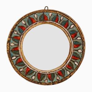 Specchio in ceramica di Roland Zobel per Les Cyclades, anni '60