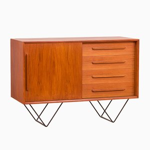 Small Danish Teak Sideboard or Vanity Unit on Metal Legs, 1970s