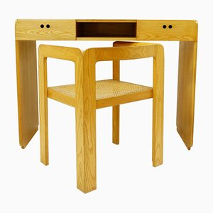 Desk and Cane Armchair by Derk Jan De Vries, Set of 2